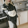 Maid rubber dress latex unform sets dress+gloves+stocking+apron sexy black lady SUITOP for girl  woman erotic