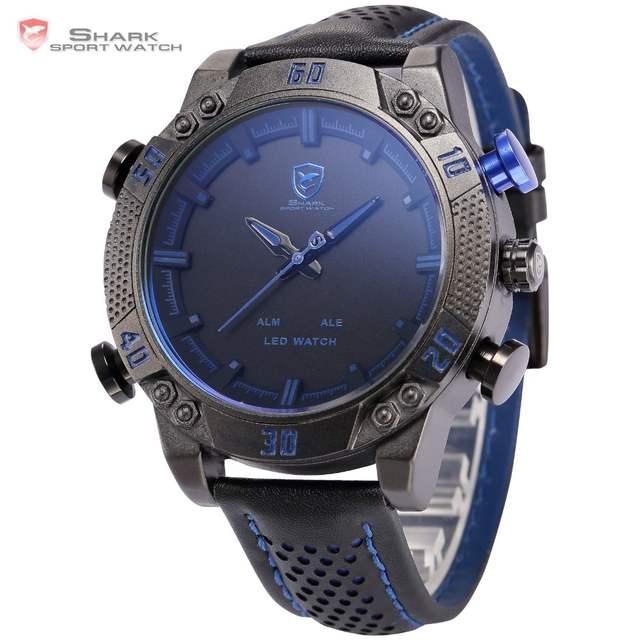 f36c543a3da placeholder Tubarão Relógio Do Esporte LEVOU Marca Auto Data Alarme Azul  Preto Dual Time Militar Pulseira de