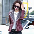 Autumn and winter thickening plus velvet leather clothing female design slim short leather jacket leather clothing small fur one