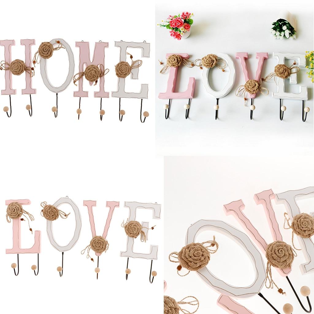 2 ensembles de crochets muraux en résine pour articles ménagers salon/bureau décor amour/maison forme