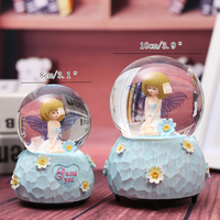 Creative Light Rotating Flower Fairy Crystal Ball Music Box Floating Snow Crystal Ball Music Box Birthday Gifts Home Decoration