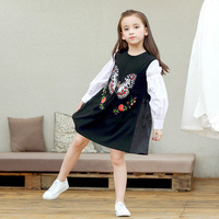 2017 Autumn Girls Dress Flower Butterfly Embroidery Design Applique Black White School Kids Clothes 56789 10