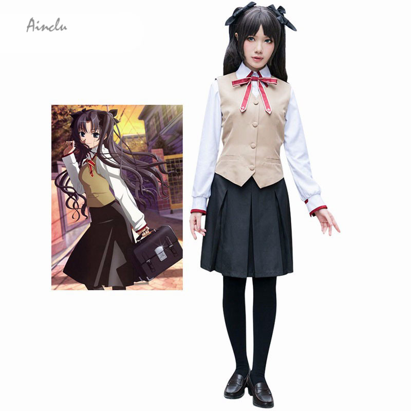 Ainclu Customize for adults Free Shipping New Fashion Fate Stay Night Tosaka Rin Halloween School Uniform Cosplay Brand Costumes