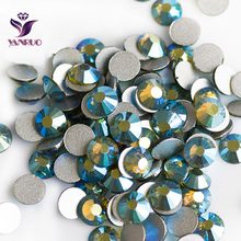 YANRUO Olivine AB Flatback Glue on Rhinestones Crystal Glass for Clothes Dacne Designs Garment Beads