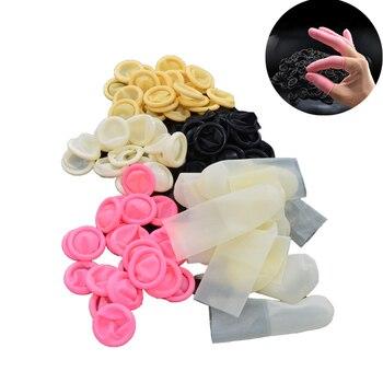 100 unids/set guante de látex desechable antideslizante protector de cunas para dedos guantes para joyería de belleza herramienta de mano