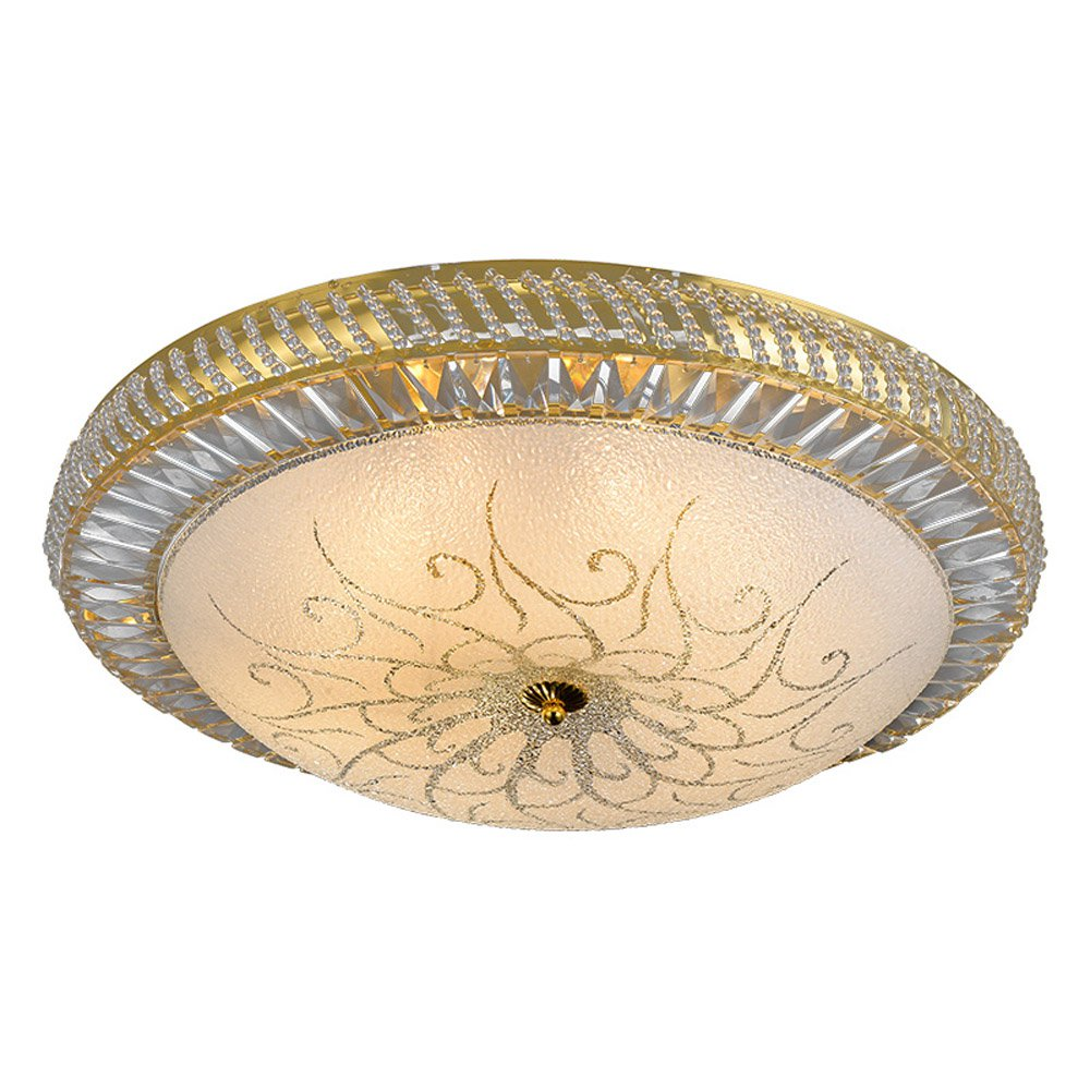 Modern Golden Round Bedroom Ceiling Lights Luxury Crystal Beads Living Room Ceiling Lamp Study Rom Painting Glass Ceiling Lights