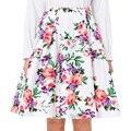 Vintage Verano de Las Mujeres Impreso Floral Falda de Midi 2016 de Alta Cintura Vestidos Plisados Una Línea de Faldas Saia Skater Casual 50 s Femininas