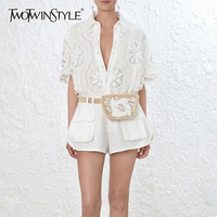 TWOTWINSTYLE Shorts Suit Female Embroidery Beading Hollow V Neck Shirt With High Waist Pocket Mini Trousers