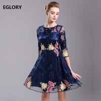 Wholesale Women Dress Spring Summer 2018 High Quality Mesh Embroidery Vintage 1950s Style Rockabilly Dress Vestidos