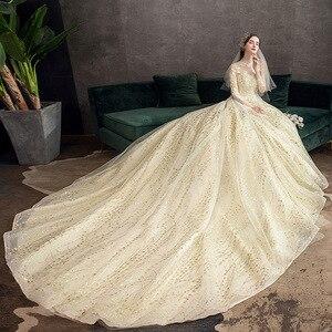 Image 2 - 2021 חדש זהב יוקרה ארוך רכבת גבוהה צוואר מלא שרוול תחרת Applique הניצוץ בתוספת גודל כלה שמלת Robe דה Mariee L