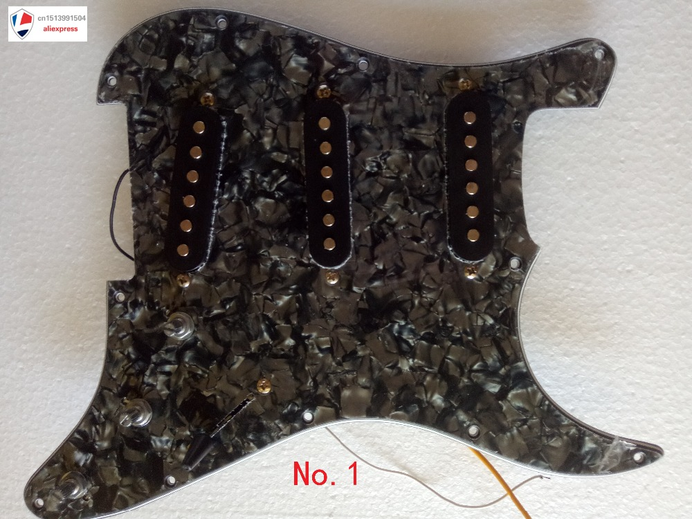 2017 NEW Guitar Pickguard 3-ply SSH Loaded Prewired Humbucker Pickguard Pickups Set for Electric Guitar Black Pearl black pearl ssh guitar loaded prewired pickguard scratchplate assembly for electric guitar