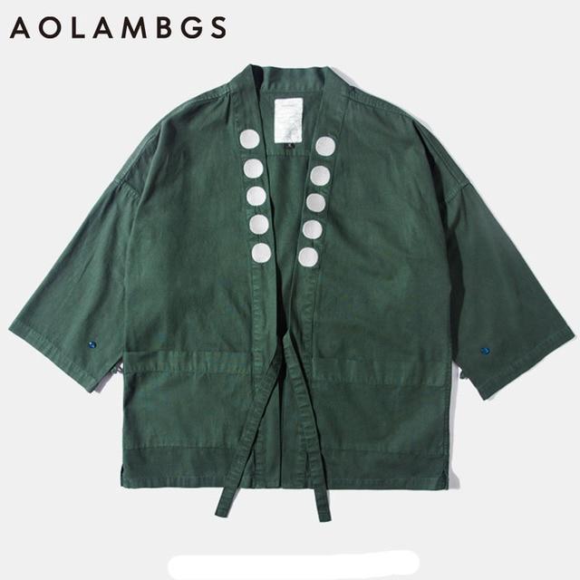 Aolamegs Kimono jacket mens japanese clothing 2016 fashion design harajuku casual japan style outwear kanye west kimonos jackets