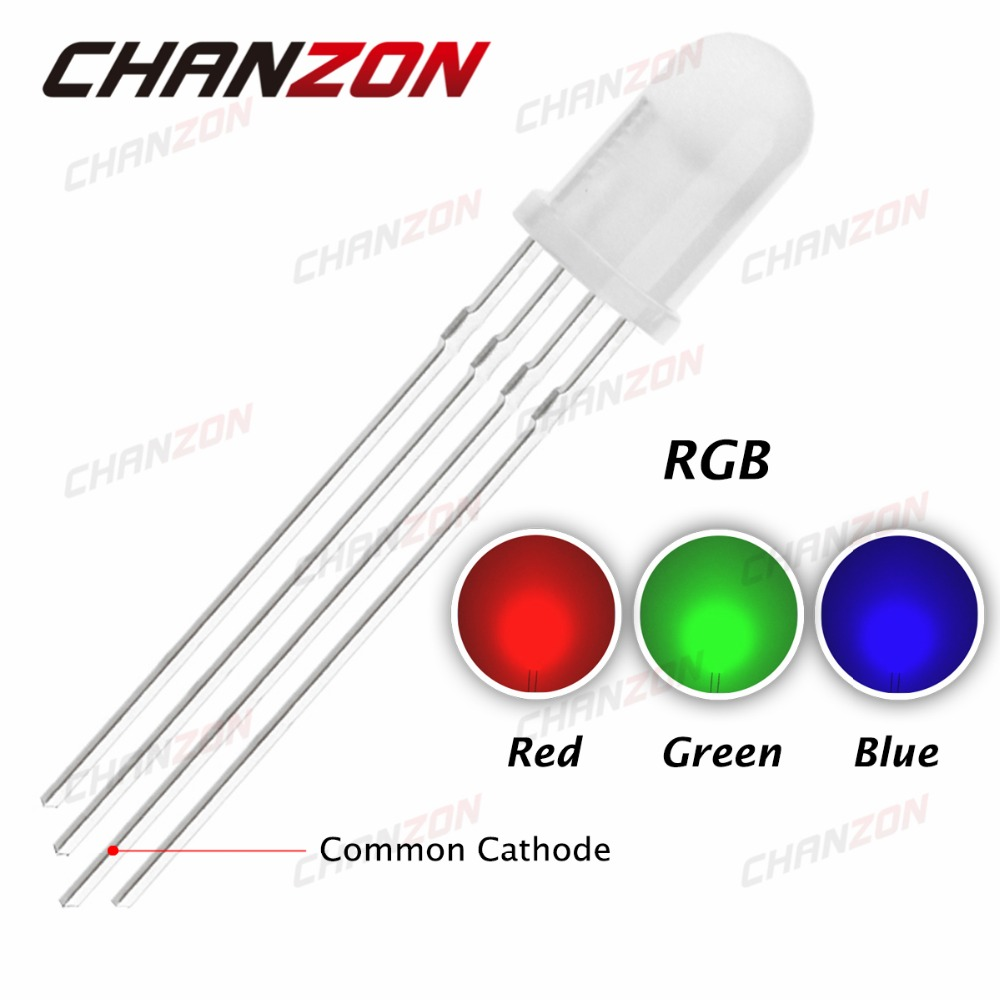 20pcs 5mm Rgb Led Common Cathode Tri-color Emitting Diodes F5 Rgb Diffused 5mm Led Red Green Blue Colorful Non-Ironing Active Components