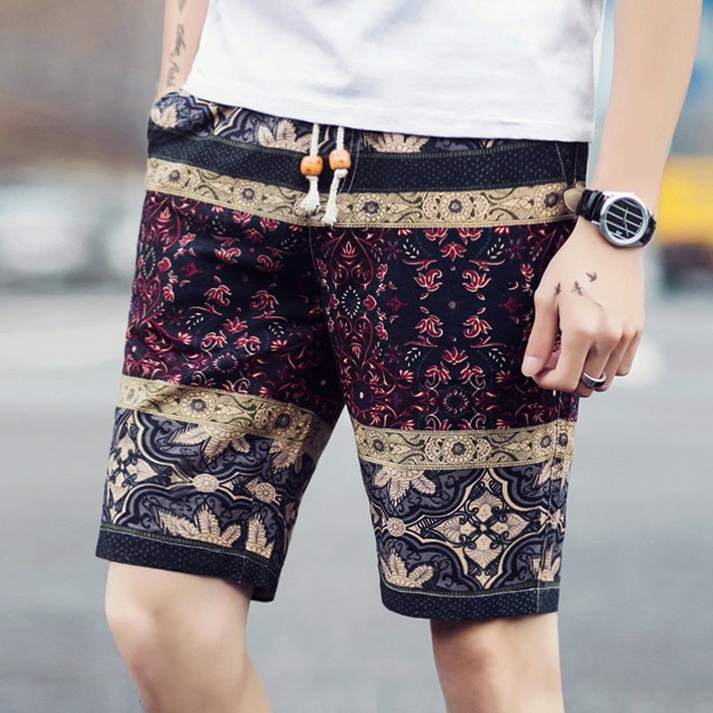 2018 summer fashion new men's casual elastic waist boutique flower shorts / Man's High Quality Drawstring Design Floral Shorts