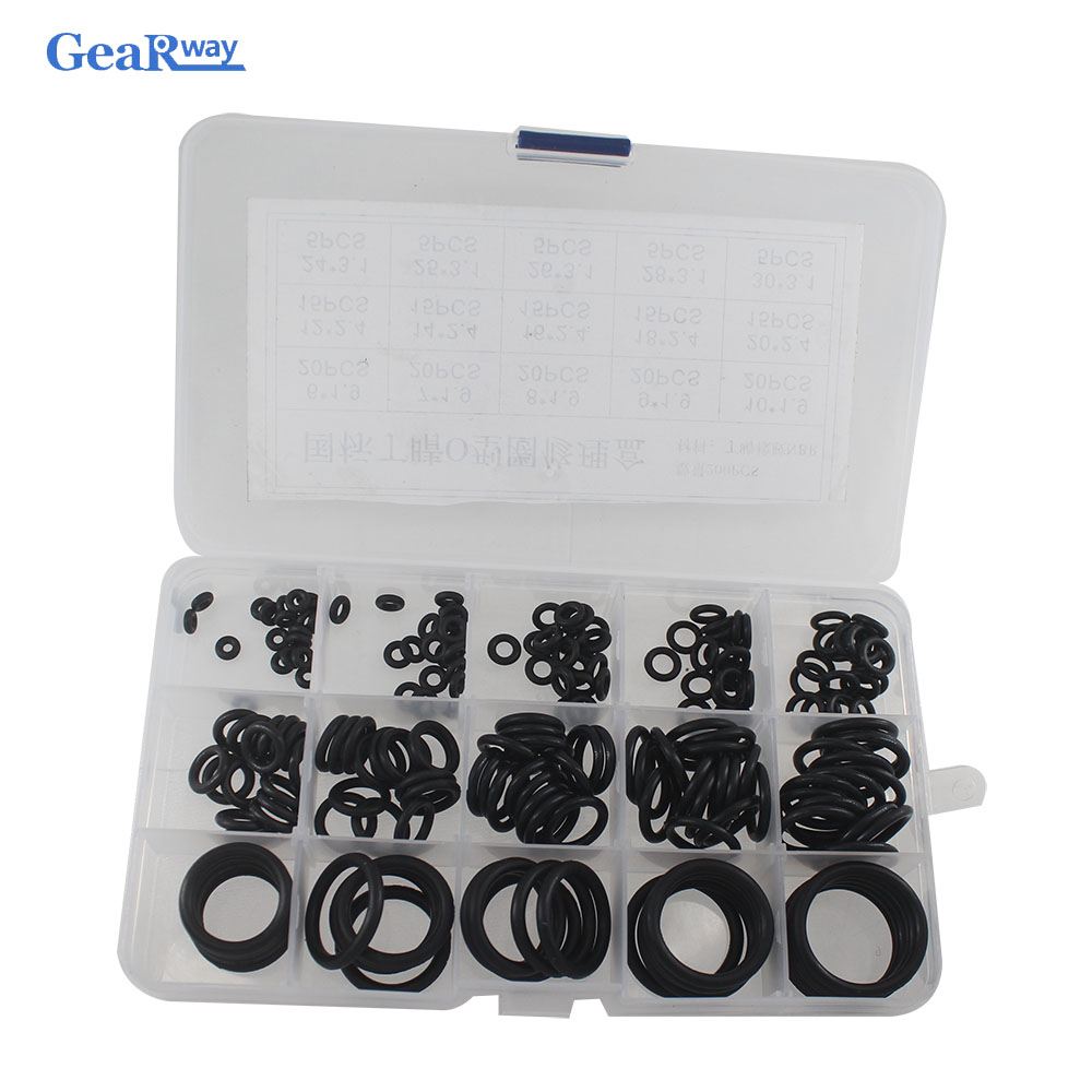 Gearway 200pcs Black O Ring Seal Kit 15 Different Sizes NBR O-ring Seal Gasket Set Oil Resist Oring Assortment with Plastic Case 300pcs red silicon o ring seal kit 15 different sizes o ring gasket set vmq o ring assortment set with plastic case