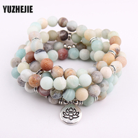 YUZHEJIE Women S Bracelet Matte Frosted Amazonite Beads With Lotus OM Buddha Charm Yoga Bracelet 108