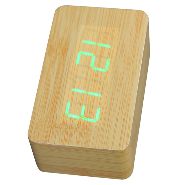New Wooden LED Digital Clock Alarm Clock Time Thermometer Calendar USB / AAA yellow and green