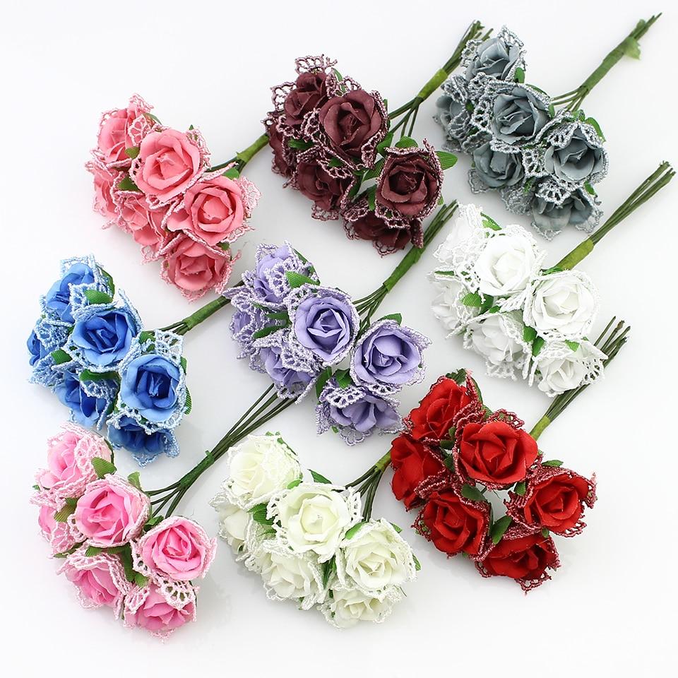 New arrivel 6pieces 2cm Artificial Lace rose flowers Bouquet, silk ...