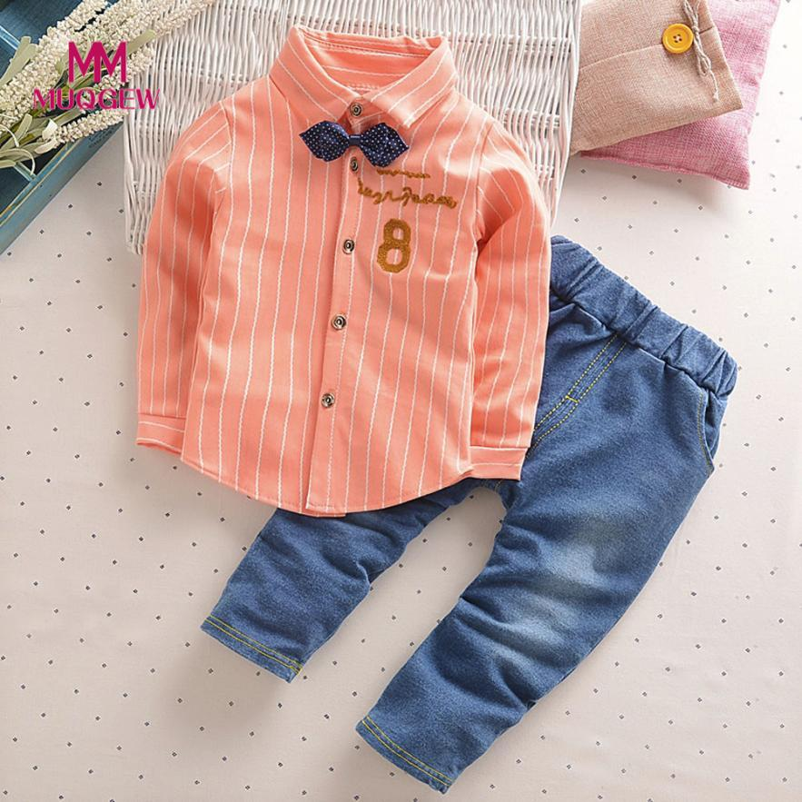 Fashion Infant Toddler Baby Boys Clothes Sets Letter Print Turn Down Neck Blouse Suit Tops +Jean Pants Outfits Clothes Set