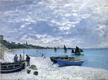 High quality Oil painting Canvas Reproductions The Beach at Sainte-Adresse (1867) By Claude Monet hand painted