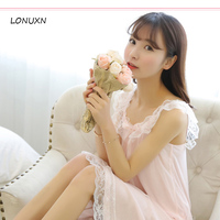 high quality One Piece Nightgown Nightwear sexy nightdress sweet bow knot pajamas girl cute Lace Princess Dress Home sleeveless