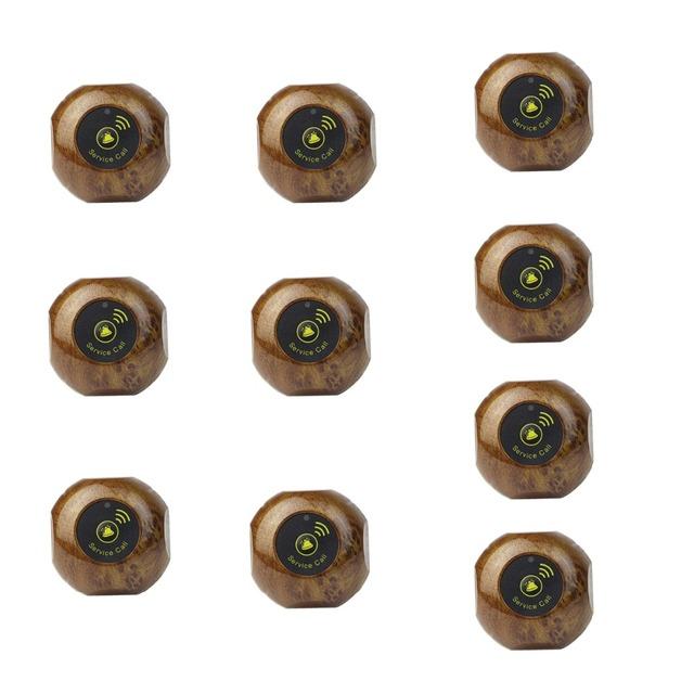 10 pcs Chamar Botão do Transmissor Pager 433.92 MHz F3227F Ouro Restaurante Garçom Chamando Sistema de Paginação Sem Fio À Prova D' Água