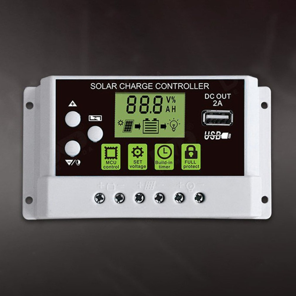 10A 12V/24V Solar Charge Controller Switch LCD Display Solar Panel Battery Regulator for Lithium 12 24v 10a lcd display usb solar regulator charge controller battery protection street light lead acid battery charge controller