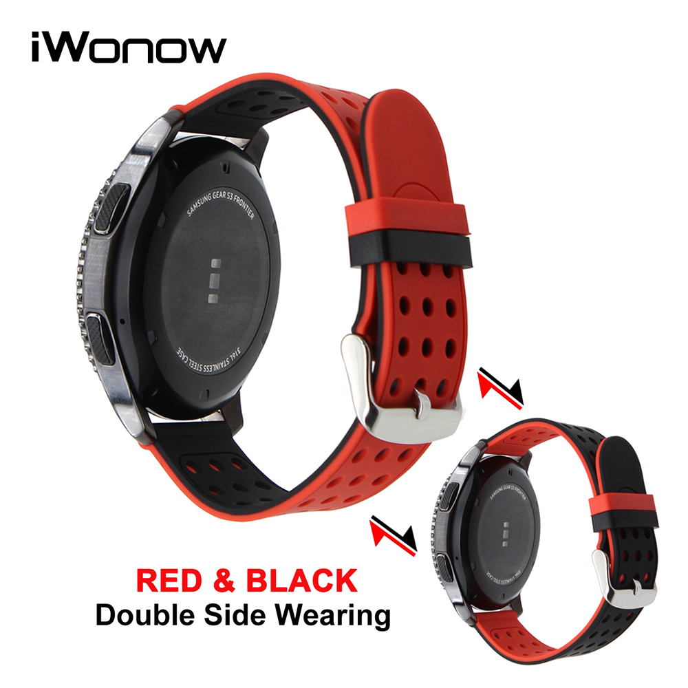 Silicone Rubber Watch Band 22mm for Samsung Gear S3 Classic / Frontier Double Side Wearing Strap Wrist Belt Bracelet +Spring Bar 22mm 24mm silicone rubber watchband double side wearing strap for diesel men women watch band wrist belt bracelet black blue red