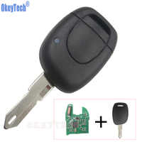OkeyTech télécommande voiture clé 1 bouton pour Renault Clio II 2001 2002 2003 2004 2005 ID46 transpondeur puce 434 Mhz NE73 lame Remotekey