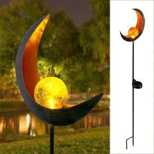 Image 1 - Solar LED Vlam Licht Retro ijzer Tuin Gazon Lamp Outdoor Tuin Landschap Decor Verlichting Zon Maan Hoek Vlam Zonne verlichting