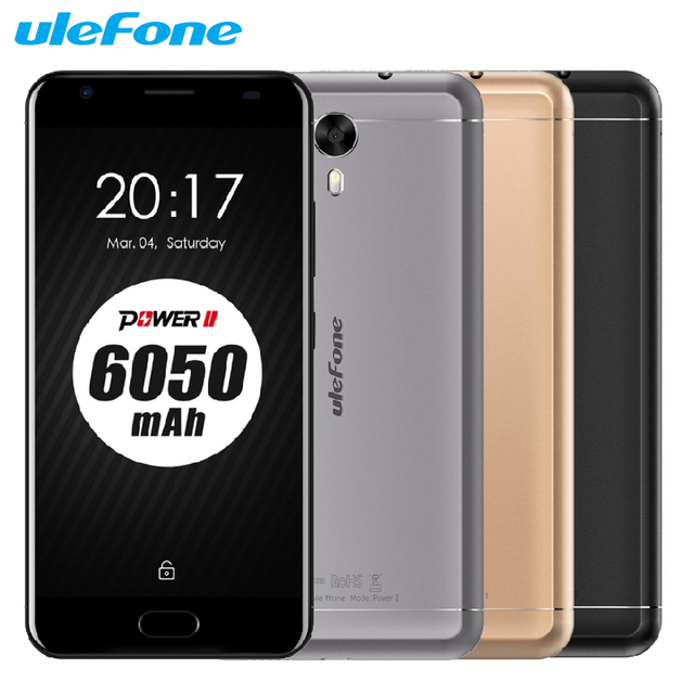 Original Ulefone Power 2 Mobile Phone 5.5 inch RAM 4GB ROM 64GB MTK6750T Octa Core Android 7.0 Camera 16.0MP 6050mAh Smartphone