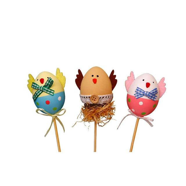 3pcs funny chick design plastic coloring painted easter eggs with 3pcs funny chick design plastic coloring painted easter eggs with sticks kids gifts toys for christmas negle Images