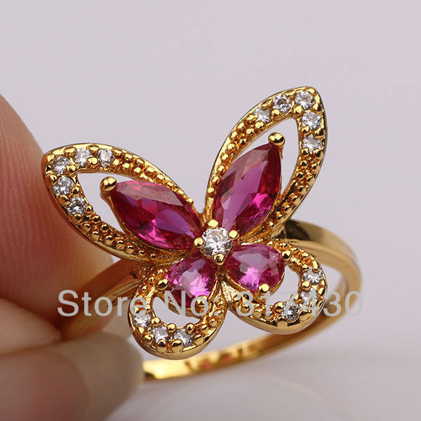 Exquisite Ruby 18k Yellow Gold Filled Womens Girls Pretty Ring Butterfly design free shipping