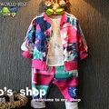 2016 de Primavera Niñas Ropa de Los Niños Impresión Colorida de la Cremallera Deportes Sistema Ocasional Todo Para la Ropa de Niños Y Accesorios