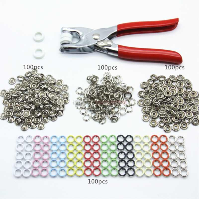 100 Sets 9.5mm 10 Colors Metal Prong Ring Button Press Studs Sewing Craft Fastener Snap Pliers Craft Tool
