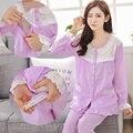 Algodão Amamentação Roupas de Enfermagem Grávida Pigiama Donna Allattamento Maternidade Noite Vestido de Pijamas Mãe Nighties 70M006