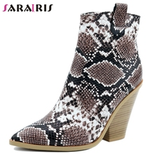 цена на SARAIRIS Big Size 34-43 Leopard Vintage High Heels Ankle Boots Women Shoes Slip On Snake Pointed Toe Western Boots Shoes Woman