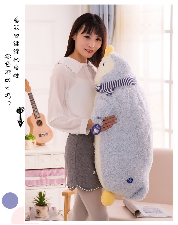 big new plush lying scarf penguin toy lovely blue penguin doll gift about 90cm 2665