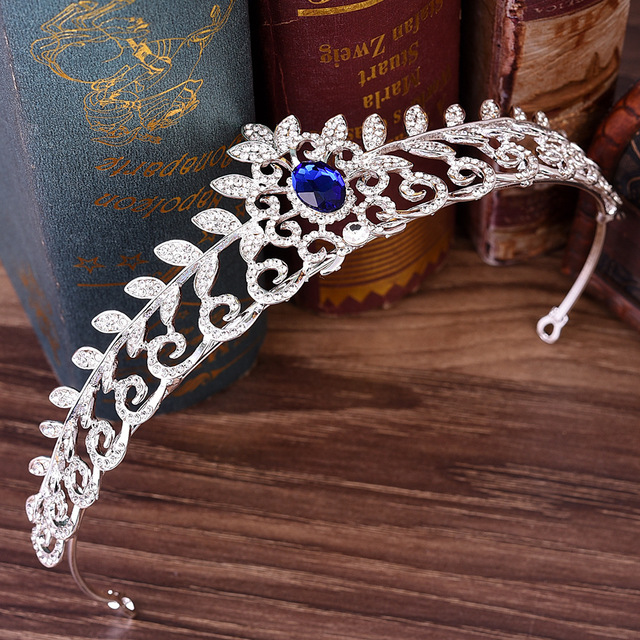 DIEZI Luxury Gold Silver Bridal Crown For Wedding Hair Accessories Blue rec Crystal Crowns Tiaras Diadem Headbands Jewelry