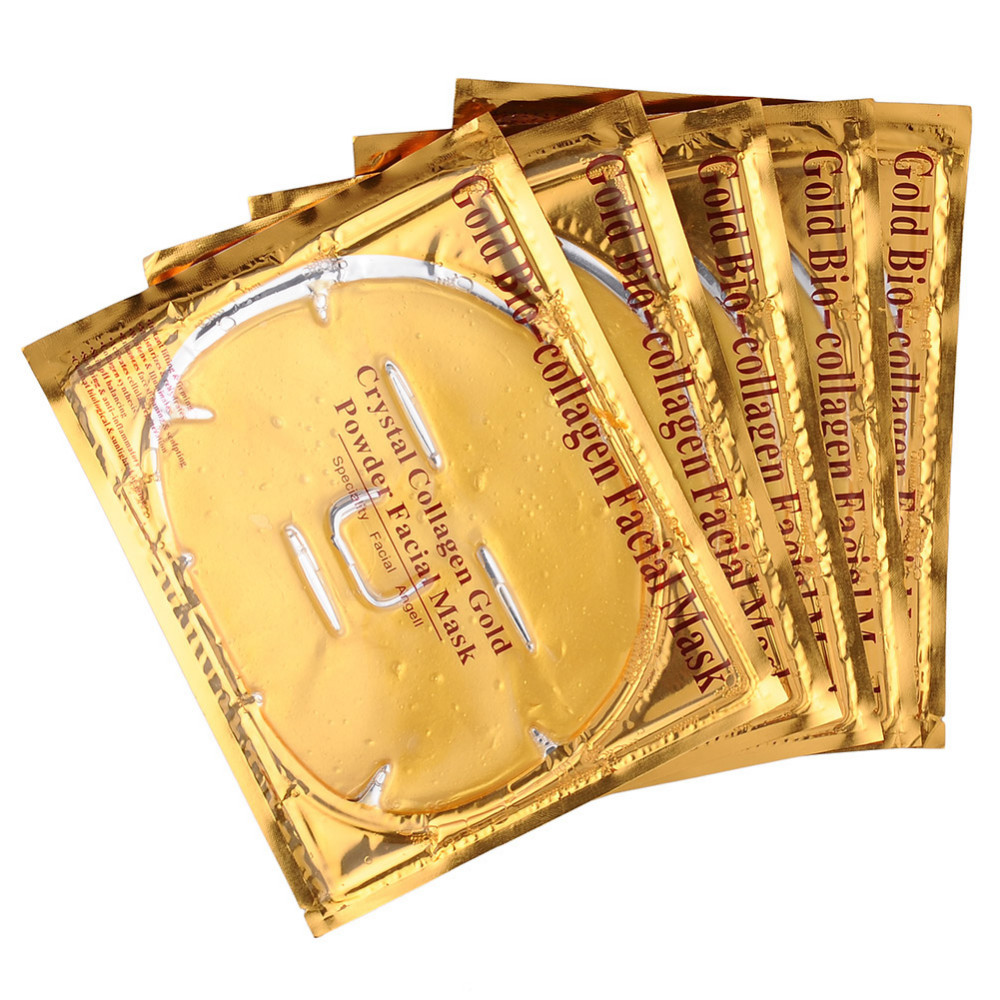 5Pcs/Lot Skin Care Facial Mask Gold Collagen Gold Crystal Collagen Powder Face Mask for Moisturizing Firming Oil-control STA Facial mask