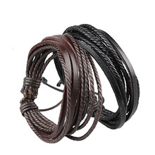 Hot Retro Leather Braided Wristband Bracelets Handmade Knitted Wrap Multilayer Men And Women Charms Bracelets Brown Black color technology of multilayer and spacer knitted fabrics