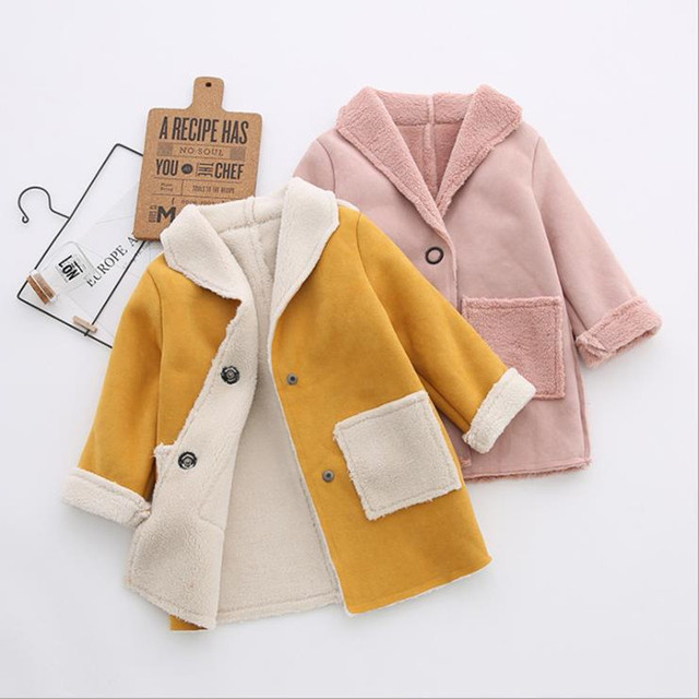 2018 Новая модная осенне-зимняя теплая верхняя одежда для маленьких мальчиков и девочек, детская замшевая флисовая куртка, детское длинное пальто, зимняя одежда для девочек