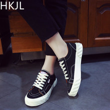 HKJL Fashion Womens canvas shoes 2019 new spring super hot womens board single shoe fashion A137