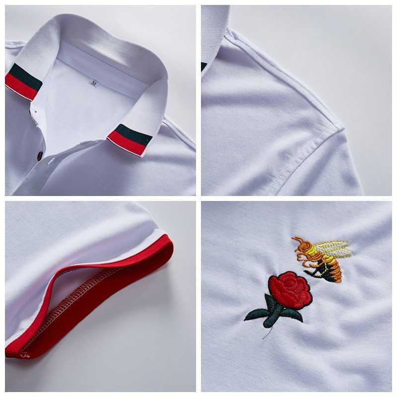 メンズ服 2019 古典的な夏のブランド半袖ポロシャツ男性カジュアル正規コットン高級デザイナーオム固体スリムポロシャツ