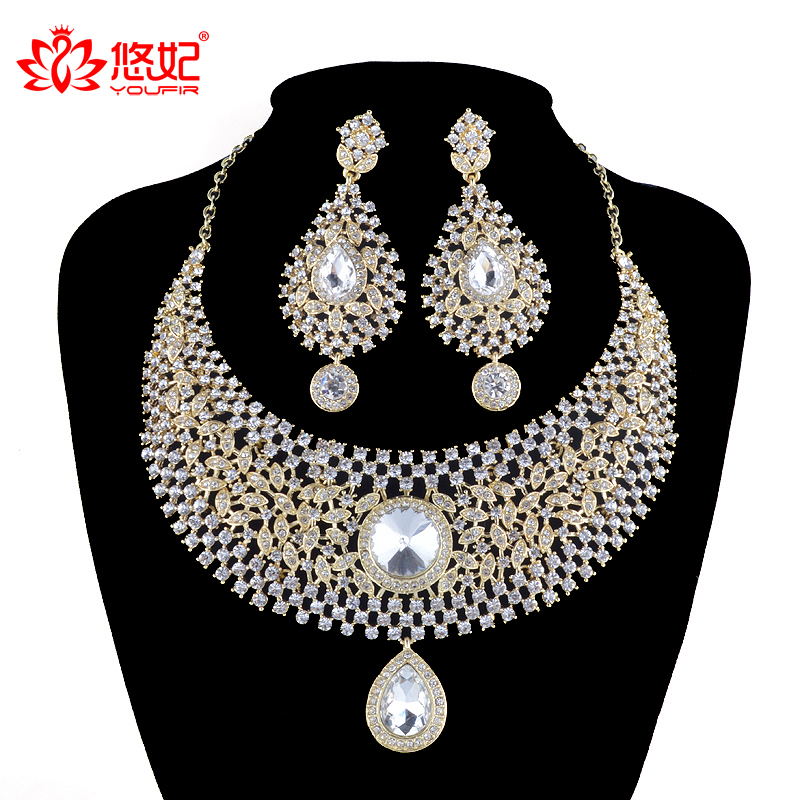 India Style Luxury women Wedding Jewelry Set Crystal Rhinestone necklace earrings set Bridal Party Jewelry Accessories rakol 2018 new wedding costume accessories heart shape cubic zircon crystal bridal earrings and rhinestone necklace jewelry set