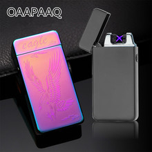 De Plasma USB Dual de arco, metálico encendedor recargable a prueba de viento mechero electrónico cigarrillo arco de doble pulso Cruz trueno Ligthers