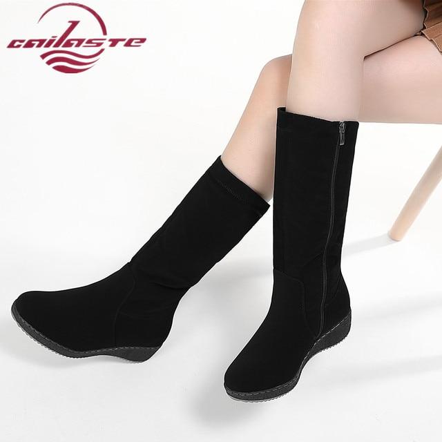 CAILASTE Nữ giày Nữ giữa bắp chân Ủng mùa đông da bota bên trong dây kéo ấm sang trọng mũi tròn cổ điển Confortable bọc chống trượt
