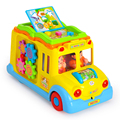Intellectual Campus Bus Light Toys Children Puzzle Educational Toys Electric Car Flash Music Early Childhood Cars for Kids