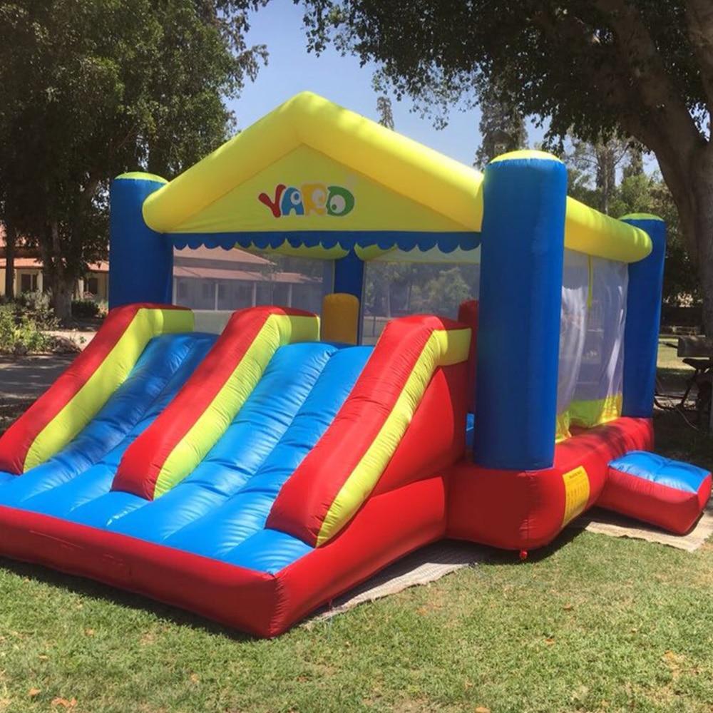 YARD Big oppustelig Bounce House dobbelt sider 5 x4 x 2,7 m Oppustelig hoppende hoppeborg Udendørs legetøj Børn Spil Funny Party