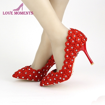 New Arrival Pointed Toe Stiletto Heel Wedding Shoes Red Lace Flower Banquet Shoes Mother of The Bride Shoes Bridesmaid Shoes